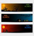 three halloween banners with castle and pumpkin vector image vector image