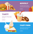 three horizontal banners fast food vector image vector image