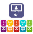 touch screen tablet click icons set vector image vector image