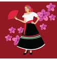 traditional spanish spain costume girl woman vector image vector image