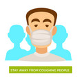 tuberculosis prevention man in medical mask stay vector image