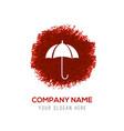 umbrella icon - red watercolor circle splash vector image