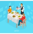 Waiter Serving Customers Isometric Poster vector image vector image