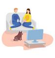 watching tv at home man woman and dog vector image