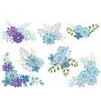 watercolor floral elements set vector image vector image
