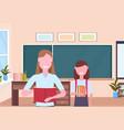 woman teacher with schoolgirl pupil standing over vector image vector image