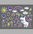 set of stickers in cartoon doodle vector image