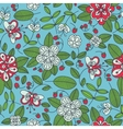 Strawberry floral seamless pattern background vector image