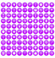 100 tension icons set purple vector image vector image