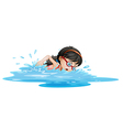 A girl swimming with goggles vector image vector image