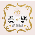 Abstract Mr and Mrs Save The Date wedding card vector image