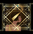 art deco girl retro fashion style african woman vector image vector image