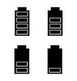 battery charging glyph icons set vector image