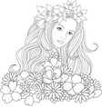 beautiful girl coloring pages vector image vector image
