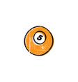billiard ball sketch grungy doodle vector image vector image