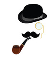 Bowler hat smoking pipemustache and monocle vector image vector image