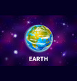 bright realistic earth planet on colorful deep vector image
