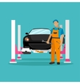 Car repair shop concept in vector image vector image
