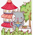 cat and japanese food kawaii vector image