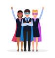 children dressed in superhero costumes characters vector image vector image