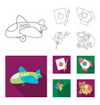 children toy outlineflat icons in set collection vector image vector image