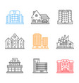 city buildings linear icons set vector image