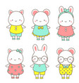 cute animals kawaii rabbit mouse and cat vector image vector image