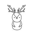 cute reindeer cartoon character animal thick line vector image