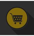 dark gray and yellow icon - shopping cart vector image