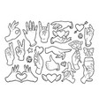 fashion patch badges with gestures of hands vector image