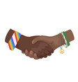flat shaking african hands vector image vector image