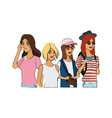 group of pretty young women icon image vector image