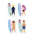 group people in swimsuits with surfboards vector image