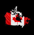 hanging canada flag in form map canada vector image vector image