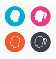 Head icons Male and female human symbols vector image