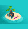 isometric cartoon island fairy-tale characters vector image