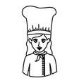 monochrome contour half body of female chef vector image vector image