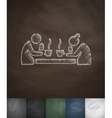 old men drinking tea icon Hand drawn vector image