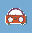 paper sticker on background of tape recorder vector image vector image