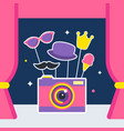 photo camera with props and booth curtains vector image vector image