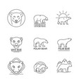 polar bear baby white icons set outline style vector image vector image