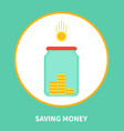 saving money cartoon banner with holding box icon vector image vector image