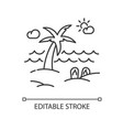 seaside resort pixel perfect linear icon vector image