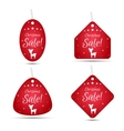Set of four festive Christmas coupon tags red vector image vector image