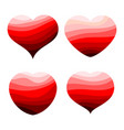set of four red hearts vector image