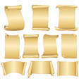 set of old blank scrolls paper on white background vector image