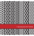 set seven geometric patterns grey and white vector image vector image