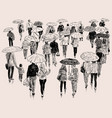 sketch of the townspeople walking in the rain vector image vector image