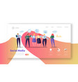 social media landing page template website layout vector image vector image