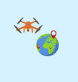 the drone near the globe and the lighthouses vector image
